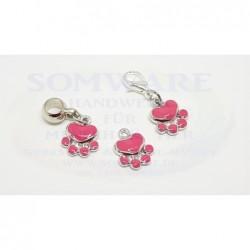 Anhänger Pfote Emaille rosa